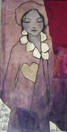 et mes larmes sont belles - Painting,  40x80 cm ©2010 by carine b -