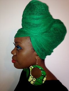 Funky Mama African print earrings with green gems per by EvieNix, £7.00