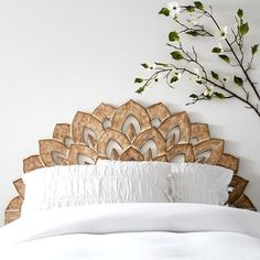Exotic and beautiful wooden headboard with peacock / leaf pattern. No Nails Wood Carved Faux Headboard. Add a timeless dash of style to your sleep space! Our Wood Carved Faux Headboard is a smart, fuss-free way to dress your dorm room in so-chic style. Faux Headboard, Headboards For Beds, Bohemian Headboard, Unique Headboards, Wood Carved Headboard, Carved Wood, Bed With No Headboard, Bohemian Bedrooms, Boho Bed Frame