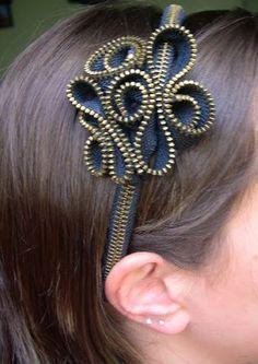 Zipper flower headband, http://hative.com/cool-zipper-crafts/