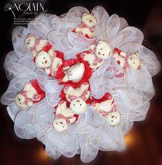 Bó hoa gấu bông : 10 gấu bông bó lưới trắng