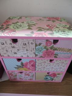 Ikea drawers covered with Needle and Thread paper from Kaisercraft Ikea Drawers, Paper Crafts, Diy Crafts, Needle And Thread, Decoupage, Decorative Boxes, Shabby Chic, Cover, Projects