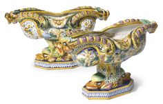 Two Cantagalli majolica footed centerbowls late 19th century