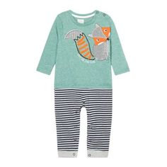 This baby boy's 2-in-1 style romper suit from Little RJR.John Rocha combines a green fine striped top with a pair of grey and navy striped bottoms. It features a cute fox applique motif and has popper fastenings to the shoulder and legs for easy changing.