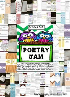 Don't you just love the first smell of spring that's in the air. It inspired me to make an interactive poetry writing notebook (FlipBook) for you to use with grades 5-8 and SPED. My students have thoroughly enjoyed these activities.