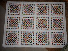 Beautiful setting for postage stamp quilt, I have become obsessed with them lately.