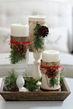 These Wood Wrapped Candles are both natural and elegant and a perfect addition to your Christmas decor.