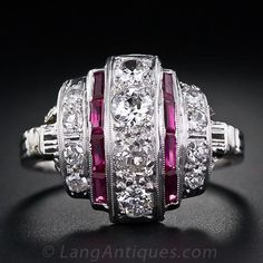 Diamond and Ruby Art Deco Dinner Ring - 10-1-4079 - Lang Antiques
