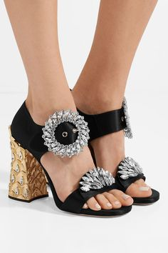 Miu Miu | Crystal-embellished satin sandals | NET-A-PORTER.COM