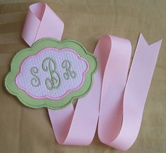 Monogrammed Hair Bow Holder - Perfect Girls 1st Birthday Gift - Green and Pink Seersucker via Etsy