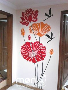 Vinilo Monatje Flores Gigantes,  Vinilos Decorativos, Vinilos, Vinilo, Vinilos Adhesivos, Vinilos Decorativos, Florales, Decoración de Paredes, Stickers, Pegatinas. Wall Painting Decor, Diy Wall Art, House Painting, Wall Decor, Mural Art, Wall Murals, Wall Drawing, Ceiling Decor, Paint Designs