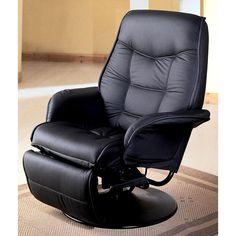 Tasmania Swivel Recliner (Black) (Faux Leather)