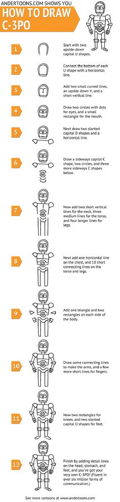 How To: Doodle A Cartoon C-3PO In 12 Simple Steps [Chart] - Bit Rebels