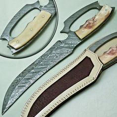 CUSTOM HAND MADE DAMASCUS STEEL FULL TANG HUNTING BOWIE  KNIFE HANDLE CAMEL BONE