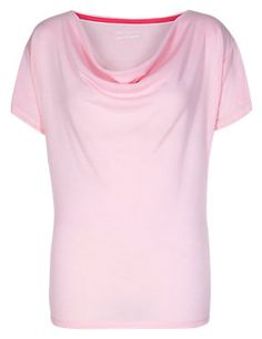 Pink Active Cowl Neck T-Shirt