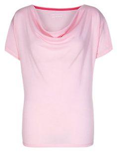 Pink Active Cowl Neck T-Shirt