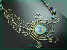 brass wire and clay peacock feather necklace