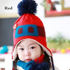 Cartoon bear knit ear flap hat for kids thick winter hat with scarf