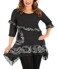 Another great find on #zulily! Black & Gray Ruffle Sidetail Tunic - Plus #zulilyfinds