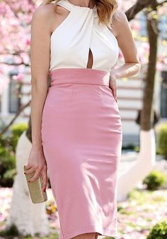 Pink Patchwork Shoulder-Strap Cut Out Pleated Sexy Midi Dress