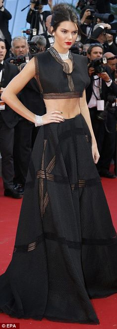 Ab-flashing Kendall Jenner looks amazing on the red carpet in Cannes #dailymail