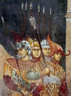 Byzantine knights, fresco from the Patriarchate of Peč, Kosovo. Note the sword with spherical pommel. Medieval Manuscript, Medieval Art, Illuminated Manuscript, Byzantine Icons, Byzantine Art, Roman History, European History, Fresco, Fall Of Constantinople