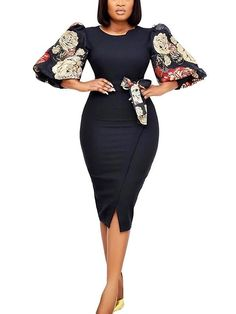 Best African Dresses, Latest African Fashion Dresses, African Attire, Classy Work Outfits, Curvy Outfits, Classy Dress, Women's A Line Dresses, Knee Length Dresses, Office Dresses For Women