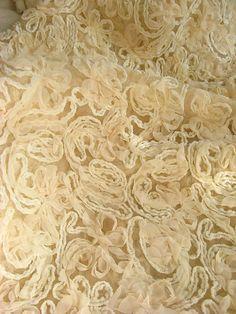 rosette en mousseline de soie ivoire tissu, tissu Chic de Rosette, mousseline de soie brodé dentelle, Baby Prop de toile de fond la photographie