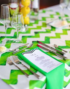 WeddingChannel Galleries: Green Chevron Stripes Reception Table