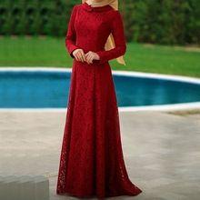 Lua de Mel Mulheres Kaftan Dubai árabe Vestidos de Noite Longos Vestidos Vermelhos Vestidos de Noite Lace Manga Comprida Muçulmano Vestido de Noite 2017(China (Mainland))