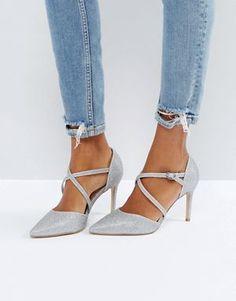 New Look Cross Front Glitter Heeled Shoe