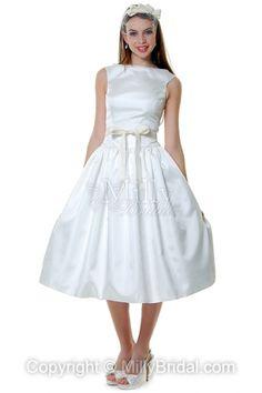 BallGown High Neck Taffeta Sash White Tea-length Wedding Dress at Millybridal.com
