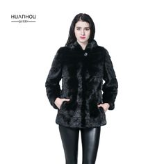 HUANHOU QUEEN real mink fur slim coat with high quality full pelt,mink fur coat whith fur hood,fashion and warm. #Affiliate