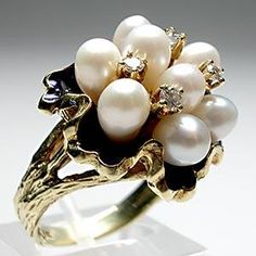 Vintage Pearl and Diamond Enamel Cocktail Ring - Weston