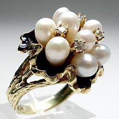 Vintage Pearl and Diamond Enamel Cocktail Ring - Weston