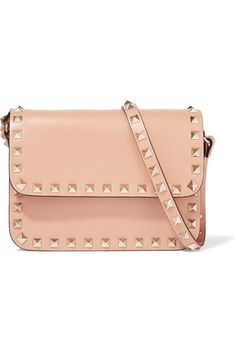 Valentino - The Rockstud Mini Leather Shoulder Bag - Peach - one size
