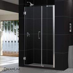 """DreamLine SHDR-20487210 Unidoor 72"""" High x 49"""" Wide Hinged Shower Door with Clea Brushed Nickel Showers Shower Doors Swing"""