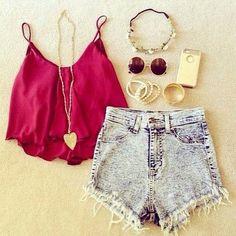 Zeliha's Blog: Denim Shorts Top Maroon Cute Outfits