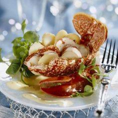 Salade de homard et pourpier et émulsion citronnée