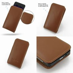 PDair Leather Case for BlackBerry Z10 - Vertical Pouch Type (Brown)