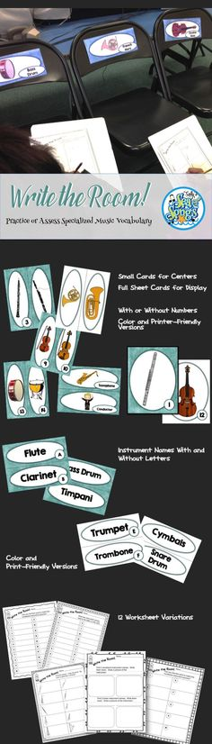 A set 20 orchestral instruments and their name labels, formatted in various ways to allow for a variety of options! Instrument cards with labels may be displayed as a permanent part of your music room decor. Use small cards in a center or large cards for display when every student has a clipboard and recording sheet. Some recording sheets are provided without directions to allow you to create your own variations of this activity.
