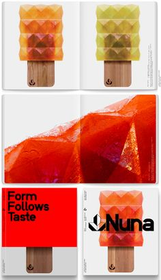 Nuna: The most delicious-looking popsicle in the world! I love the edginess of the form, going against typically smooth popsicle shapes. And that crazy popsicle stick! Designed by Manu Kumar and Stefan Gandl of Neubau Berlin.