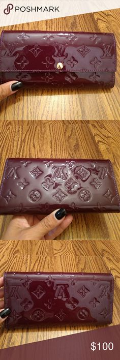 Plum LV wallet New condition as I never used. My ex bought this for me and its been sitting in my drawer so Im not certain of the authenticity ...it's a beautiful plum color patent leather Accessories Scarves & Wraps