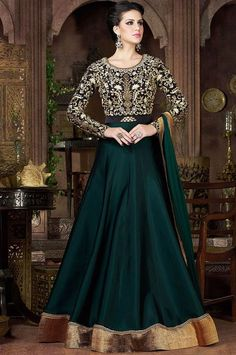 Gorgeous Pine Green and Black Anarkali Suit