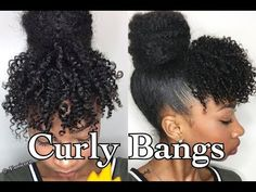 Faux Curly Bangs+ Marley Bun | Short/ Medium 4a/3c Hair - YouTube                                                                                                                                                     More