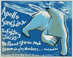 Apollo Sunshine   The Fighting Jacks   Brilliant Stereo Mob   Drowning by Numbers     Kilby Court   1/14/2004   Artist: Leia Bell   AoMR 451.2   Silkscreen   Edition of 74   11 x 9 inches