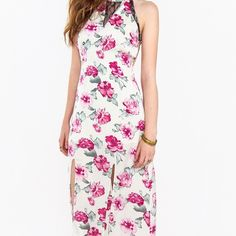 Roses of Love Dress Floral maxi . Features a black lace trim and two front slits so you can show some leg. I have the measurements for all sizes so just ask! Sugar Lips Dresses Maxi