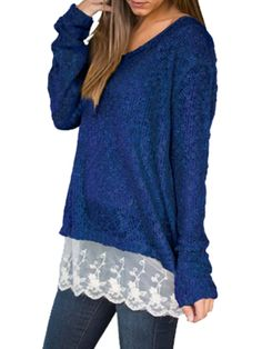 Patchwork Concise V Neck Pullover