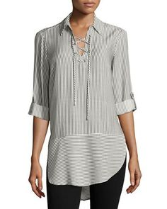 Pinstriped Lace-Up Tunic, Black/White