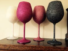 Large wine glasses. Glittered and filled with a lovely hand poured scented candle! £9 each. #candles #glitter #gifts #glitz #scarletglitz #glass